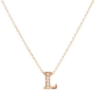 Latelita Diamond Initial Letter Pendant Necklace Rose Gold L