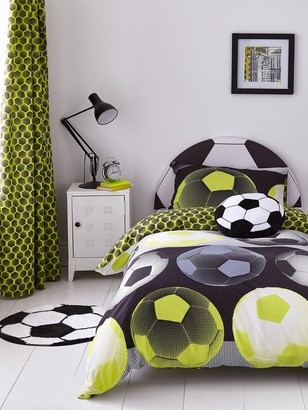 Catherine Lansfield Neon Football Eyelet Curtains in Yellow