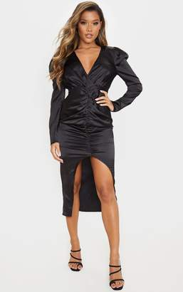 PrettyLittleThing Black Wrap Bodice Ruched Skirt Midi Dress
