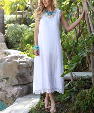 Ananda's Collection Women's Casual Dresses white - White Crochet-Accent Maxi Dress - Women