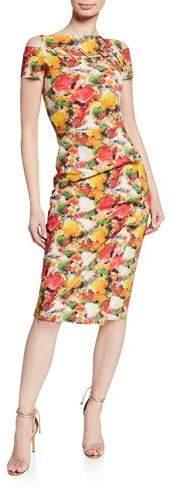 Floral-Print Short-Sleeve Dress w- Grommet Details & Asymmet