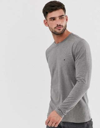 Tommy Hilfiger slim fit classic logo long sleeve t-shirt in grey