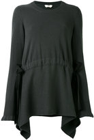 Fendi asymmetrical lace-up detail pullover - women - Cotton/Viscose/Cashmere - 38