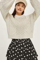Topshop Blouson cropped cable sweater