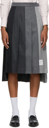 Thom Browne Grey Wool Dropped Back Pleated Skirt