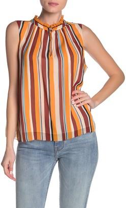 Frame Sleeveless Silk Stripe Blouse