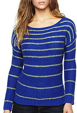 JCPenney a.n.a® Long-Sleeve Sequin Stripe Shirt