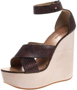 Chloé Brown Python Leather Cross Strap Wooden Wedge Ankle Strap Sandals Size 40