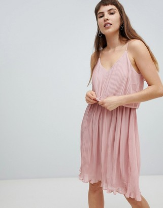 Pieces Pleated Slip Dress-Pink