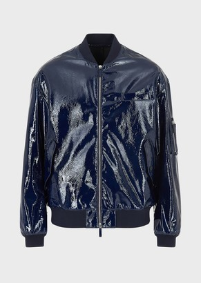 Emporio Armani Patent Leather Bomber Jacket In Tumbled Lambskin Nappa Leather