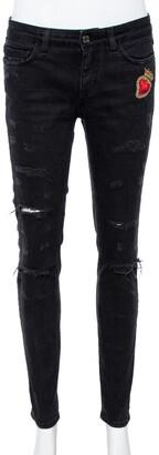 Dolce & Gabbana Black Denim Sacred Heart Detail Pretty Fit Jeans S