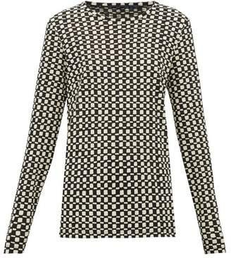 Proenza Schouler Checked Shibori Dyed Cotton Long Sleeved T Shirt - Womens - Black White