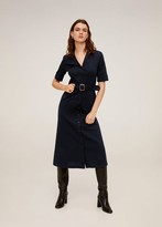 MANGO Buttoned midi dress navy - 4 - Women