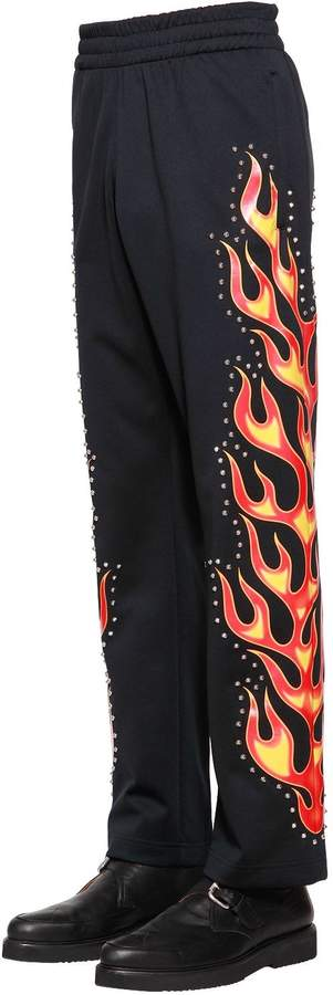 Moschino Flames Printed Studded Track Pants