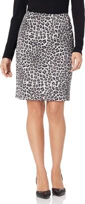 Kasper Women's Petite Leopard Printed Scuba Crepe Skirt