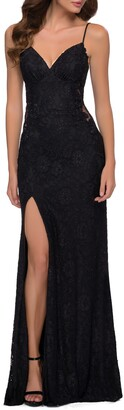 La Femme Sparkle Stretch Lace Open Back Sheath Gown