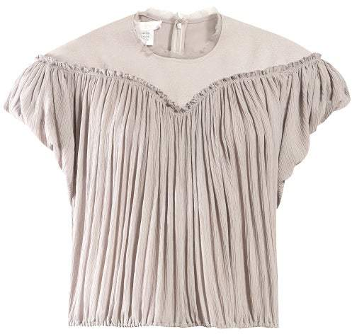 Chloé Crinkle Pleated Crepe Top - Womens - Light Grey