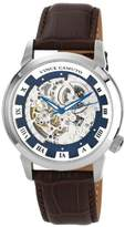 Vince Camuto Men's Automatic Watch with Blue Dial Analogue Display and Brown Leather Strap VC/1007BLSV