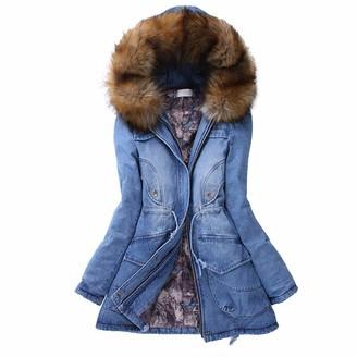 Doldoa Women Outerwear Women's Long Denim Coats Sale Women Thick Faux Fur Collar Hooded Jacket Ladies Winter Warm Jeans Outwear(Blue M)
