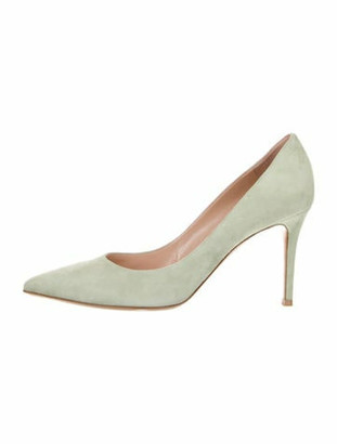 Gianvito Rossi Suede Pointed-Toe Pumps w/ Tags Green