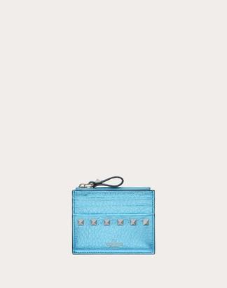 Valentino Rockstud Metallic Grainy Calfskin Cardholder With Zipper Women Azure 100% Pelle Di Vitello - Bos Taurus OneSize