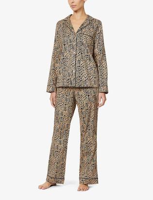 Yolke Leopard-print cotton-poplin pyjama set.