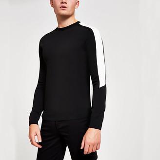 River Island Black colour blocked slim fit knitted jumper