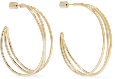 36a46696a245d Triple Thread Gold-plated Hoop Earrings