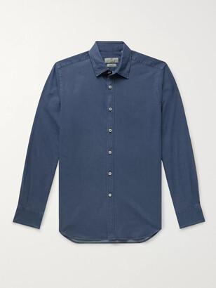 Canali Slim-fit Cotton-blend Chambray Shirt - Blue
