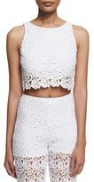 Miguelina Rosi Floral-Lace Crop Top