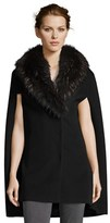 Cinzia Rocca Wool Cape With Fur Collar.