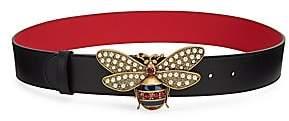 Gucci Women's Glass Pearl & Crystal Bee Buckle Belt