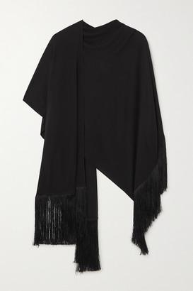 Matteau Fringed Jersey Poncho - Black