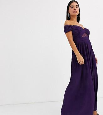 Asos DESIGN Petite lace and pleat bardot maxi dress