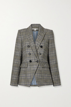 Veronica Beard Miller Dickey Double-breasted Checked Tweed Blazer - Gray