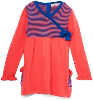 SAM. Sophie & Girls' Sweater Dresses CORAL - Coral & Blue Stripe Surplice Tunic - Infant, Toddler & Girls