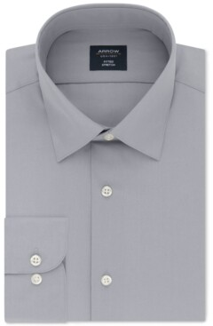 Arrow Men's Fitted Non-Iron Performance Stretch Solid Dress Shirt
