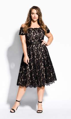 City Chic Lace Dreams Dress - Black