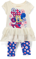 Children's Apparel Network Minnie Mouse Off-White Dress & Blue Floral Leggings - Girls