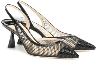 Jimmy Choo Fetto 65 mesh and leather pumps