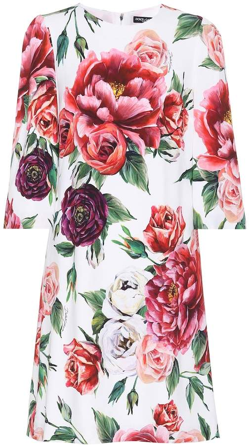Dolce & Gabbana Rose-printed crepe dress