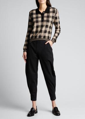 Rachel Comey Kerria Gingham Long-Sleeve Polo Top