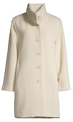Sofia Cashmere Women's Wool & Alpaca-Blend Funnel Neck Drop Shoulder Peacoat