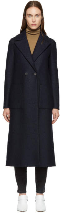 Harris Wharf London Navy Pressed Wool Boxy Duster Coat