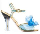 Miu Miu vinyl-floral embellished sandals