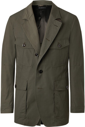 Tom Ford Slim-Fit Unstructured Leather-Trimmed Canvas Blazer