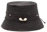 Sensi Studio - Lampshade Shell Toquilla Straw Bucket Hat - Womens - Black
