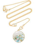 Renee Lewis Opal Aqua Turquoise White and Colored Diamond Shake Necklace