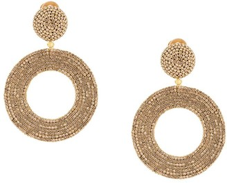 Oscar de la Renta Beaded Circular Hanging Earrings