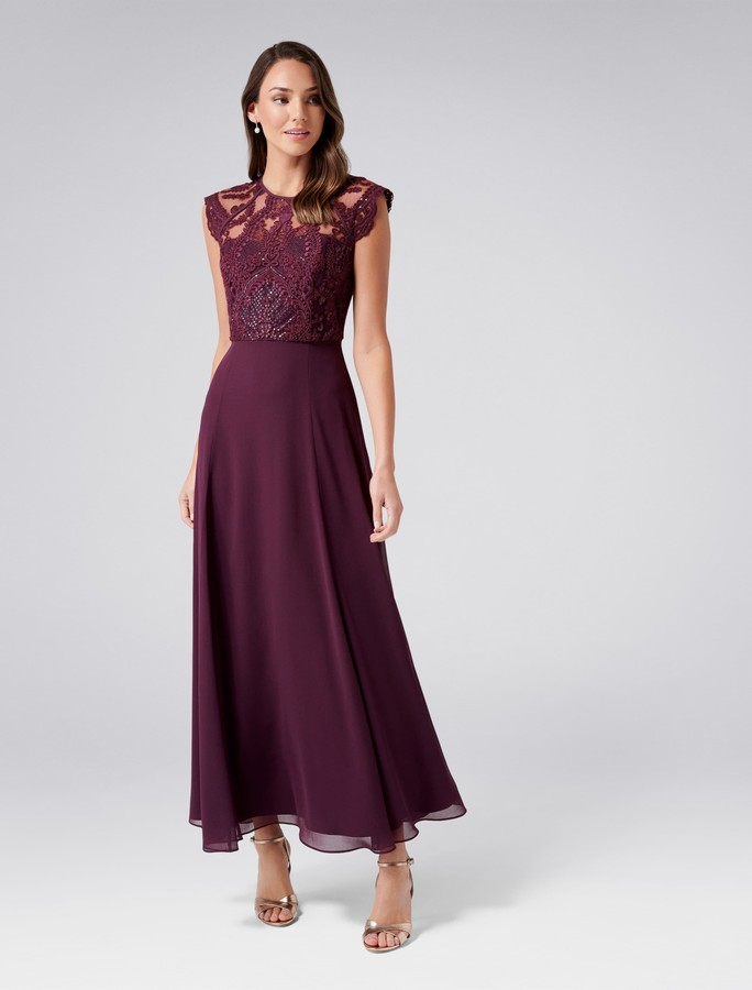 Forever New Emilia Embellished Maxi Dress - Wineberry - 4